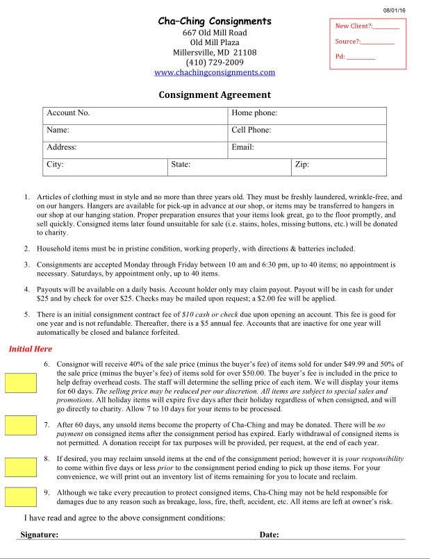 ChaChing Consignments  Consignment Agreement